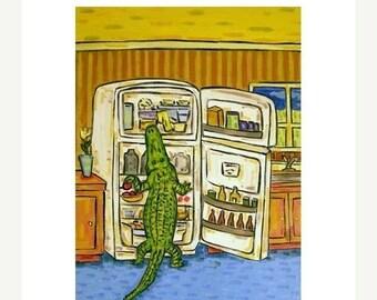20% off Alligator Raiding the Fridge Art Print