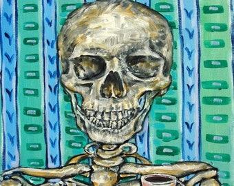 20% off day of the dead skeleton art print on Tile coaster gift  modern folk pop art JSCHMETZ