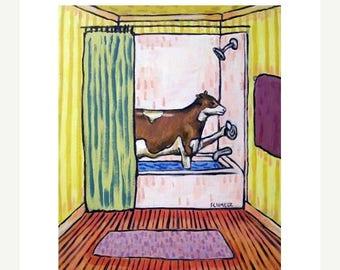 20% off Cow Taking a Bath Art Print