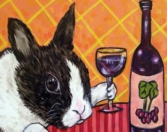 20% off Bunny at the Wine Bar Rabbit Art Tile Coaster