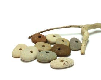 APPALACHIAN TRAIL Genuine Drilled Beach Stones Focal Jewelry Beads River Stone Rocks Pebbles diy Jewelry Natural Wheels Donut Earthy Tribal