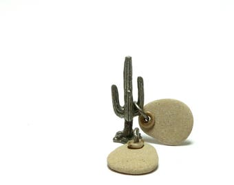 Drilled Pebbles CRINOID PAIR Beach Stone Fossil Earrings Jewelry Making Beads Authentic diy Hand Drilled Dangles Ear Set