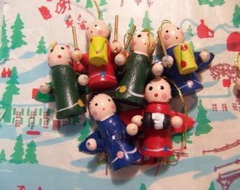 tiny wooden angels christmas ornaments