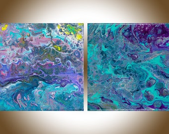 Set of two Colorful Abstract original artwork painting on canvas acrylic Painting fluid art purple pink turquoise blue yellow by qiqigallery