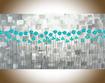 """Large wall art teal grey teal flowers canvas art painting on canvas original oil artwork wall decor  """"After the Rain 2"""" by QIQIGallery"""