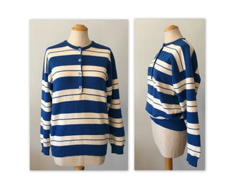 Vintage 80s Pure Cashmere Sweater Striped, Murray Allan for The Scotch House