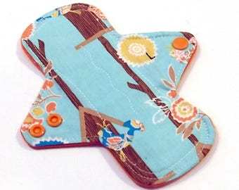 Washable Cloth Menstrual pad- 7 inch LIGHT flow pantyliner-bamboo/organic cotton core- PUL - cotton flannel top - Birdhouses
