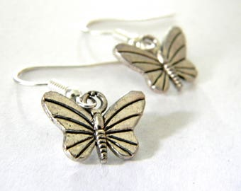 Silver Butterfly Earrings Dangle Earrings