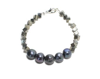 Bohemian black fresh water pearl and pyrite beaded stackable bracelet