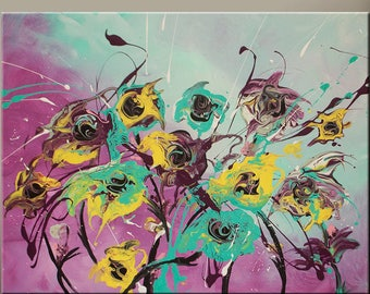 Abstract Art Canvas Painting 18x24 Contemporary Flower Art Paintings by Destiny Womack - dWo - Wildflowers IIII