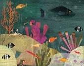 "Coral Reef giclee print 8""x10"" wall art room decor children's art nursery print"