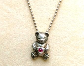 Vintage Sterling Silver Teddy Bear Pendant, SS Chain, Miniature Teddy Jewelry, Classic Bear Necklace with Marked SS Charm by enchantedbeas