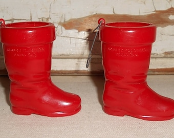 Vintage Rosbro Red Santa Boot Christmas Ornaments Hard Plastic Candy Container