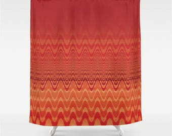Deep Orange Fabric Shower Curtain Ombre Wavy Chevron Pulse Fade Out Pattern, Hot Color Modern Abstract Home Decor
