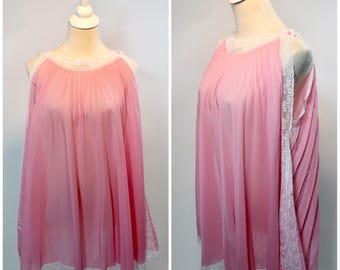 Vintage 60s Pink Trapeze Tent Babydoll Nightie Nightgown Dress