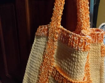Hand knit 100% Cotton Book Bag