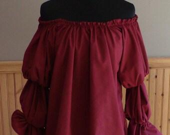 Custom Renaissance Blouse Chemise Costume Burgundy for Samantha ONLY