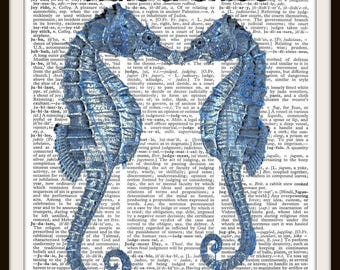 Amor--Love--Kissing Seahorses--Vintage Dictionary Art Print-Fits 8x10 Mat or Frame