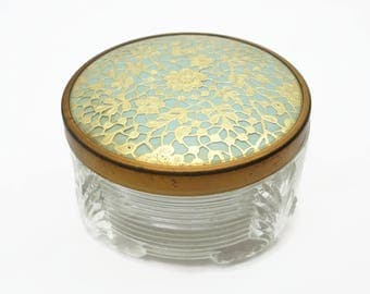 Vintage Powder Jar Vanity Box - Gold Lace Glass Base Old Hollywood Regency