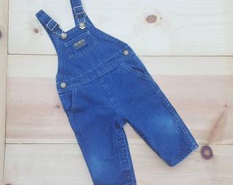 Vintage Baby Overalls  // Vtg OSH KOSH Made in the USA Distressed Denim Toddler Bibs // size 6 9 12 mos