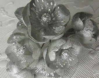 Vintage Germany 8 Silver Christmas Corsage Flowers Millinery Flowers 1940s