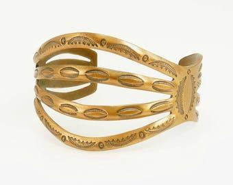 Southwestern Copper Cuff Bracelet Wide Open Work Design