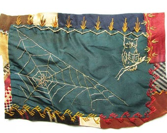 Two Antique Victorian 1890's Quilt Fragments, Embroidered Fancy Work, Crazy Quilt Piece for Framing, Creative Work, Owl, Moon, Spider Web