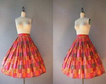 1950s Skirt / Vintage 50s Paisley Patchwork Print Cotton Skirt / 50s Full Pleated Skirt XS extra small