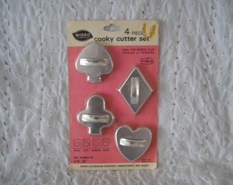 Vintage 4-Piece Cookie Cutter Set ~ Cards Spade Club Diamond Heart Bridge Mirro