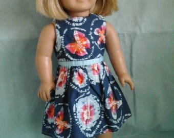 Blue Tie Dye Butterfly Dress / Doll Clothes fits American Girl doll or other 18 inch doll