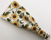 Floral Athletic Wrap, Sunflower, Sunflower Headband, Head Wrap, Athletic Stretch Knit, Headband, Women's, Boho, Hippie, Gym Headband, Flower