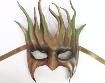 "Tree Leather Mask  greenman forest green man Ent Groot Treebeard festival Halloween costume Art 9 1/2"" tall"