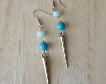 Blue and gold spike earrings | long dangle earrings | fashion earrings | statement earrings | everyday earrings| boho jewelry
