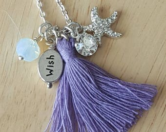 tassel necklace, tassel charm necklace, silver tassel necklace, inspirational jewelry, wish jewelry, birthday gift for teen girl, gift mom