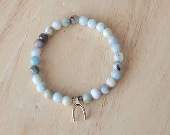 Amazonite bracelet, wish bone charm bracelet, beaded bracelet for women, boho jewelry, mothers day gift mom gifts from daughter, stacking