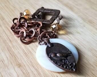 Copper charm bracelet, chain link bracelet, bird charm bracelet, womens rustic bracelet, dangle bracelet, gift for her, shell bracelet