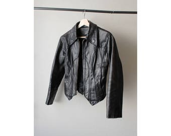 1980s Black Distressed Leather Jacket