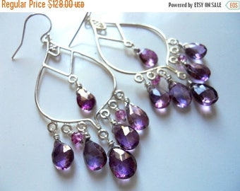 QUICKIE SALE 15% OFF, Large Boho Earrings, Sterling Silver Mystic Violet Pink Purple Quartz Chandeliers, Gemstone earrings, style : Wanderlu