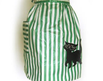 Vintage Polished Cotton Half Apron in Kelly Green and White Stripes with Black Kitty Appliqué/ Pristine