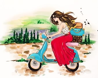 Dreaming of Tuscany print of original Watercolor Fashion and Travel Illustration