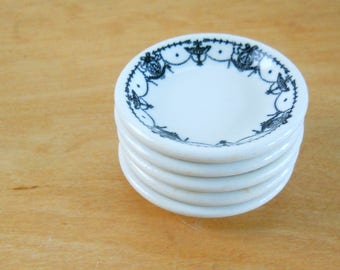 Butter Plate Pat Dish Stoneware • Ironstone Restaurant Ware Butter Pat • Black and White Set of 4 + 1