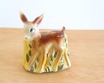 Vintage USA Deer Planter • Vintage Yellow and Green Animal Vase • Whimsical Deer Planter