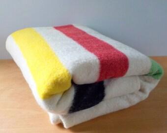 Vintage Mariposa Wool Blanket • Hudson Bay Style Wool Blanket • Ivory and Color Striped Camp Blanket
