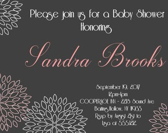 Baby Shower Invitation, Printable Photo Card, Digital File,