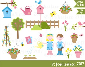 Digital Clipart - Cute Gardening Set - Birds - Birdhouse - Garden - Boy - Girl - 300 dpi JPEG and PNG files - Instant Download