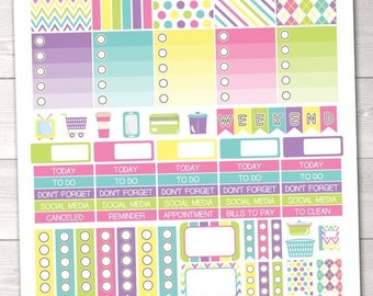 35% OFF SALE Springtime Printable Planner Stickers Weekly Kit Icons Weekend Banner Checklist Flags Washi Borders