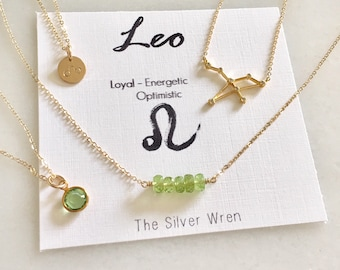 Leo Zodiac, Leo Necklace, Zodiac Jewelry, August Birthstone Necklace, August Birthday Gift, Constellation Necklace, Zodiac Gifts, Peridot