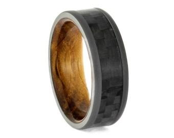 Carbon Fiber Wedding Band, Whiskey Oak Sleeve Ring With Sandblasted Titanium, Modern Ring