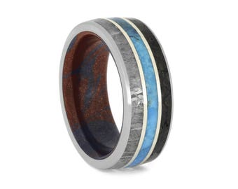 Gibeon Meteorite Wedding Band With Turquoise, Dinosaur Bone Ring, Mokume Gane Ring With White Gold Accents