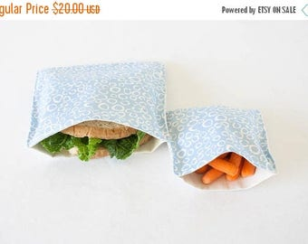 ON SALE PLASTIC-Free Light Blue Morning Dew Sandwich and Snack Bags, Reusable, Organic Cotton, Eco Friendly - Set of 2